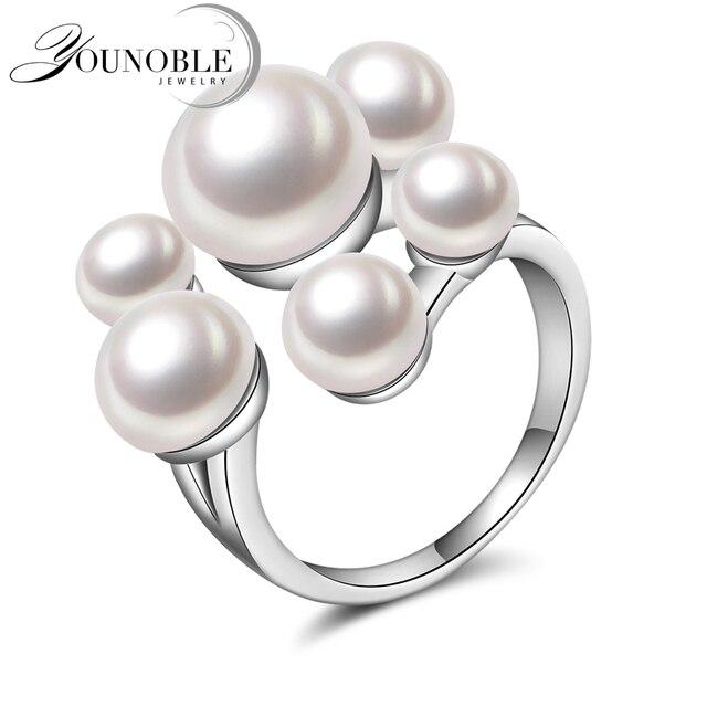 Свадьба Реальный естественный пресноводный жемчуг кольца для девочек, смешные 925 серебряные кольца для женщин регулируемый 10-летие белый лучшие подарки