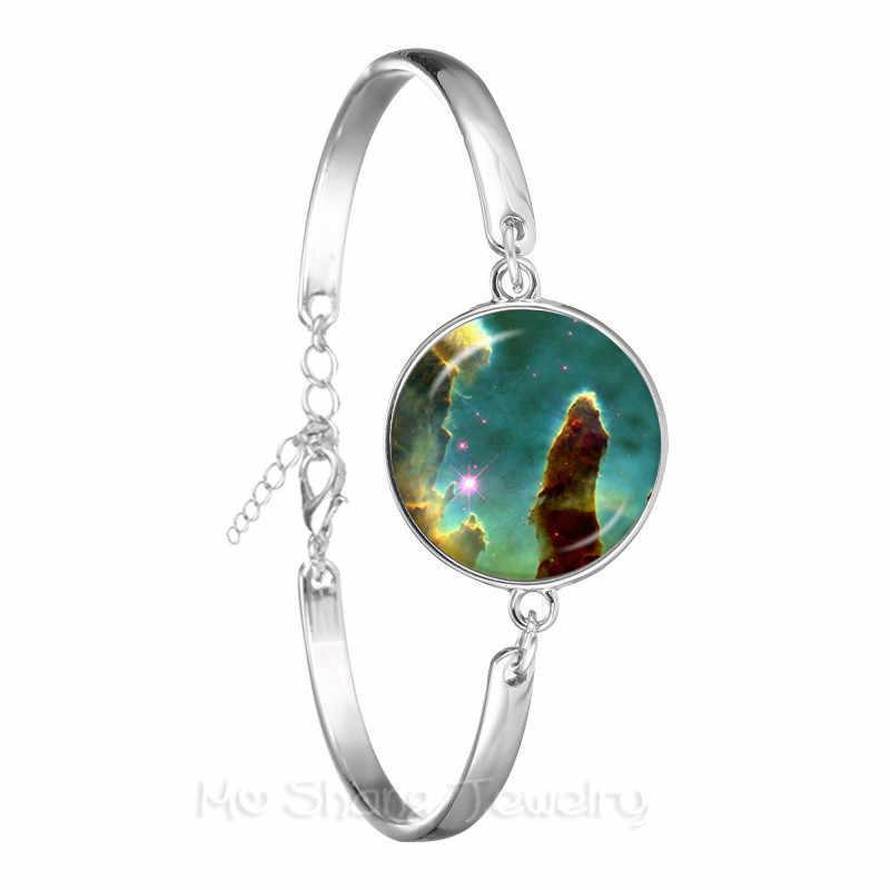 Purple Galaxy Nebula Bracelet Space Jewelry Planets Colorful Galaxy Star Spcace Women Men Silver Plated Bangle Gift