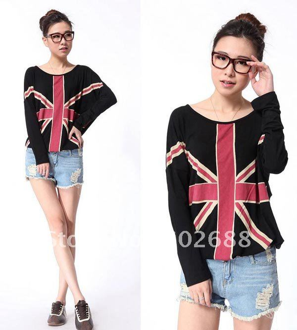 d09940151 Women's Oversized Long sleeve Union Jack Cotton&Modal T shirt-in T-Shirts  from Women's Clothing on Aliexpress.com   Alibaba Group