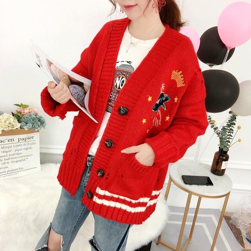 Офисный женский свитер, вышитый v образным вырезом, длинный рукав, женские топы, модные длинные кардиганы, Цветочный однобортный