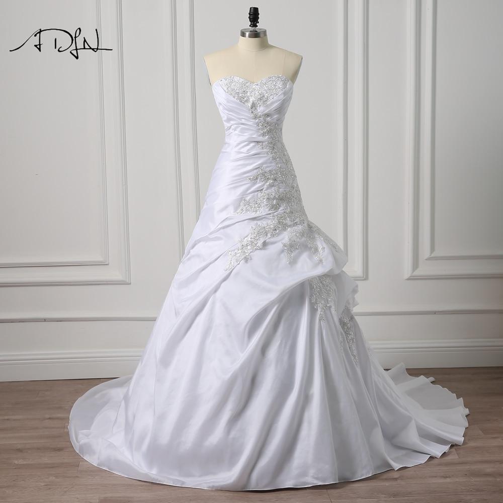 ADLN Sweetheart Ärmlös Korsett Bröllopsklänningar med Appliques Abiti da Sposa Taffeta Mermaid Brudklänning