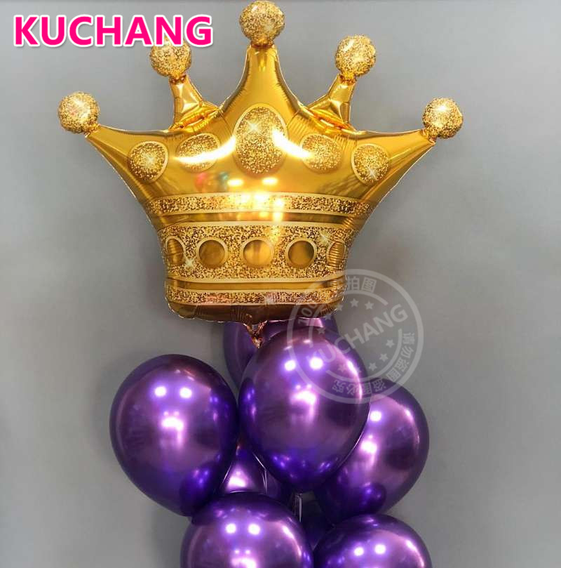 1pc Large Size Gold Crown Foil Balloons Prince Princess Baby Shower First Birthday Bachelorette Party Decorations Photo Props ...