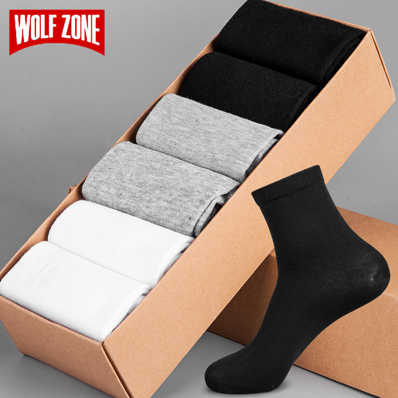 WOLF ZONE Brand Socks Men Fashion Dress Mens Socks 100% Cotton High Quality Business Casual Breatheable Long Sock 6 PairsSet