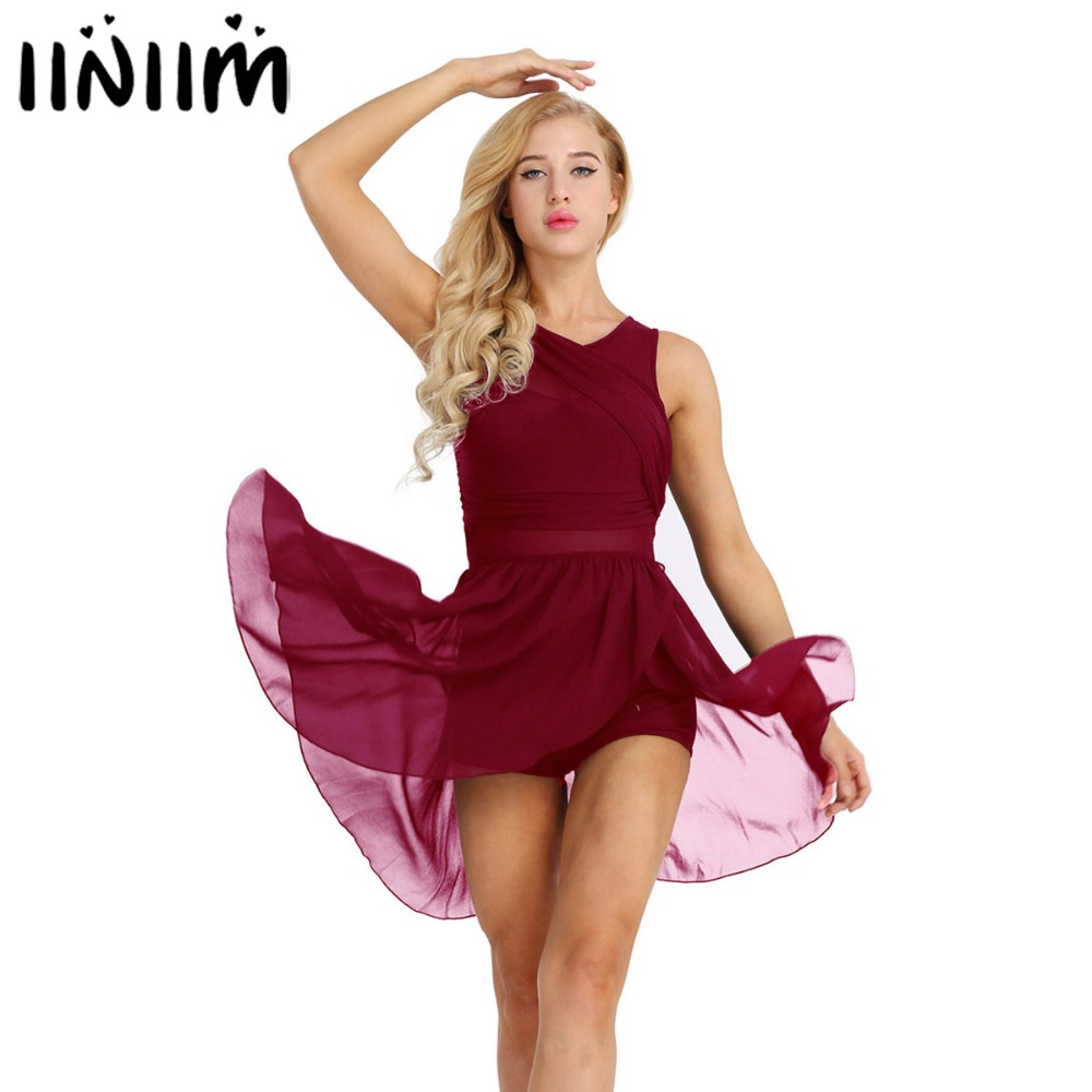 iiniim Womens Ballet Tutu Costumes Adult Cut Out Back Asymmetric Chiffon Dance Class Ballerina Gymnastic Leotard Dancewear