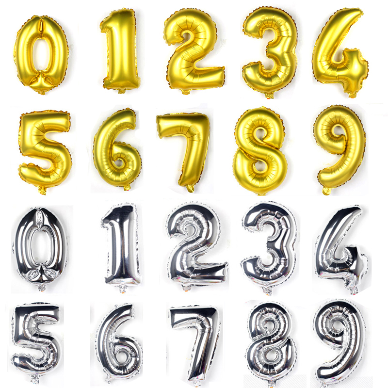 Humorous 1pc Large 32 Inch Gold Number Balloon Big Aluminum Foil Giant Balloons Birthday Wedding Party Ballon Decora Celebration Supplies Ballons & Accessories Festive & Party Supplies