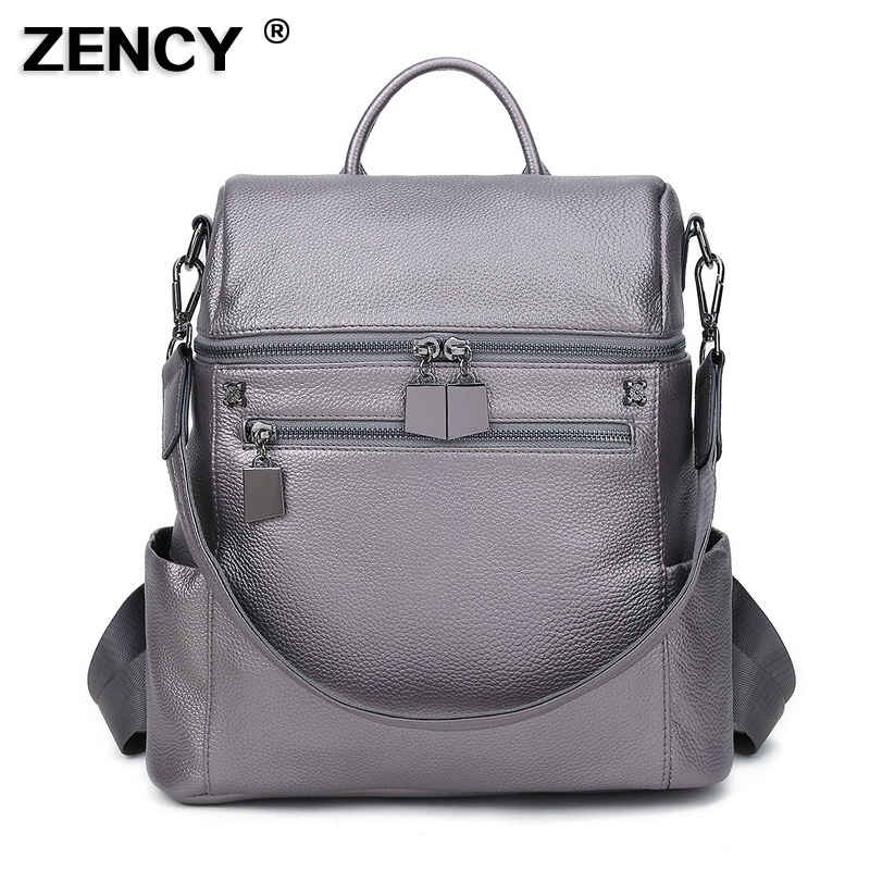 ZENCY Genuine Leather White Women's Multifunctional Backpack First Layer Cow Leather Female Shopping Backpacks Cowhide Bag-in Backpacks from Luggage & Bags    2