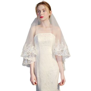 Womens Double Layer Fingertip Length Wedding Veil Glitter Sequins Floral Lace Scalloped Trim 2 Tier Photo Bridal Veil With Comb Bridal Veils