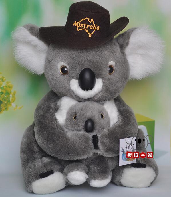 Gros jouet mère et bébé Koala poupée jouets en peluche avec chapeau cadeaux éducatifs pour enfants
