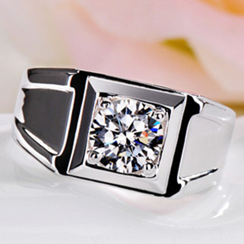 Reliable Male Ring 1Ct Synthetic Diamonds Ring for MEN Solid 925 Sterling Silver Ring White Gold