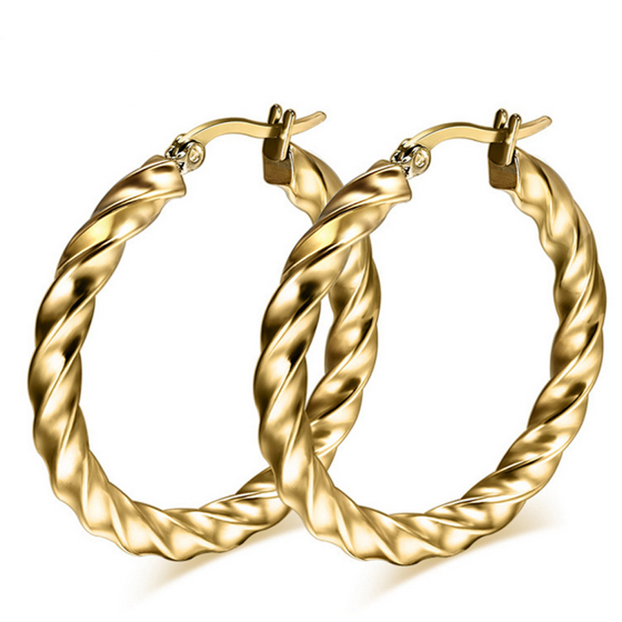 Classical Gold Color Twisted Big Hoop Earrings For Women Ladies Girls  Trendy Stainless Steel Round Huge Earrings Party Gift