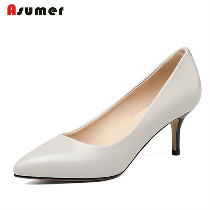 Asumer Fashion sexy women shoes pumps high thin heels shoes pointed toe genuine leather shoes spring autumn solid big size 33-42 fashion new spring summer med high heels good quality pointed toe women lady flock leather solid simple sexy casual pumps shoes