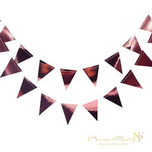 Nicro 3M Rose Gold Triangles Garland Wall Hanging Decor Rose Gold Foil Triangles String Ornaments Curtain for Birthday Party(China)