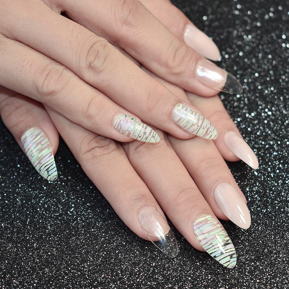 Artificial Nail Tips: 24pcs Shiny Medium Acrylic Artificial Nail Tips Nature