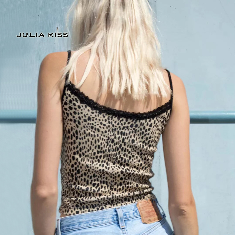 HTB1O5UqUCzqK1RjSZFLq6An2XXaW - Women Fitted Ribbed Cropped Spaghetti Strap Tank Top In Leopard Print