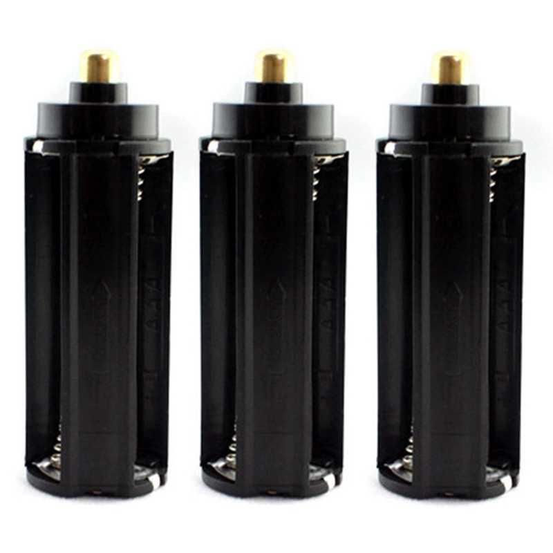 Atacado 3 pçs de plástico metal 3x aaa bateria titular caixa tipo cilindro para 18650 lanterna tocha preto