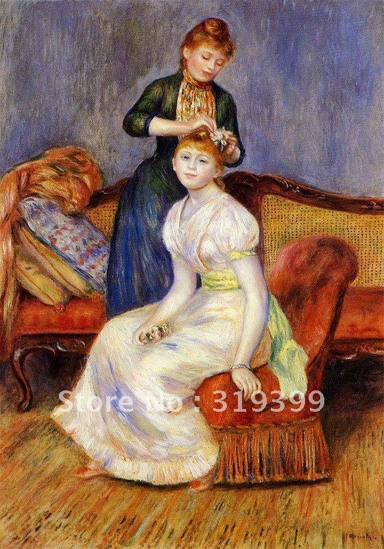Free DHL Shipping,handmade,Oil Painting Reproduction,the coiffure by pierre auguste renoir , oil painting on linen canvasFree DHL Shipping,handmade,Oil Painting Reproduction,the coiffure by pierre auguste renoir , oil painting on linen canvas