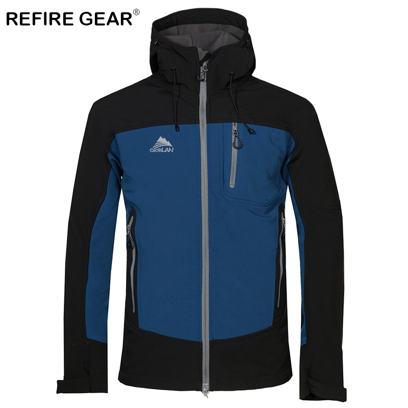 ReFire Gear Winter Soft Shell Windproof Windbreaker Jacket Waterproof Thermal Hiking Hooded Jackets Male Outdoor Camping Jackets
