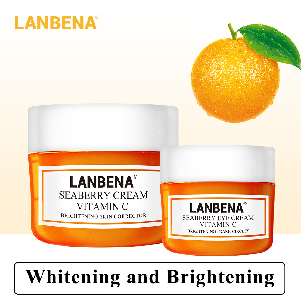 Lanbena Vitamin C Face Cream+eye Cream 2pcs Whitening Moisturizing Anti Aging Serum Acne Treatment Firming Fade Dark Spots