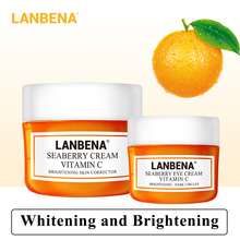 Lanbena Vitamin C Face Cream+eye Cream 2pcs Whitening Moisturizing Anti Aging Serum Acne Treatment Firming Fade Dark Spots цена 2017