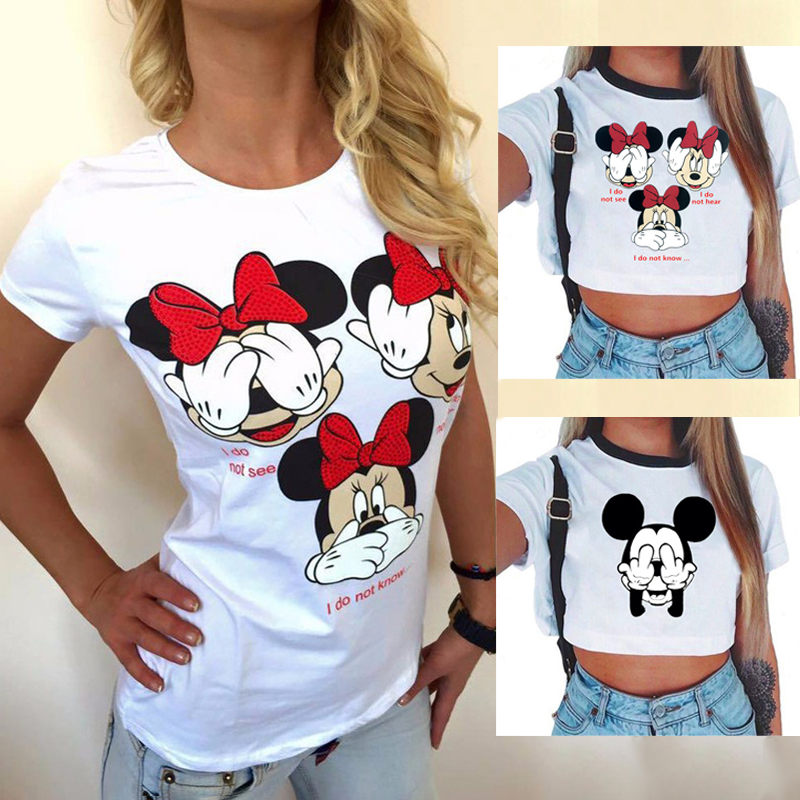 Mickey Minnie Mouse   shirt   Femme Fashion Cartoon Solid Color Printed   Shirt   Summer Women's   T  -  shirt   Comfort Plus Size Animal