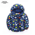 80-120cm Cute Dinosaur Winter Boys Padded Cotton Jacket Child Infant Overcoat Winter Children Coat Outerwear Baby Clothing NAVY