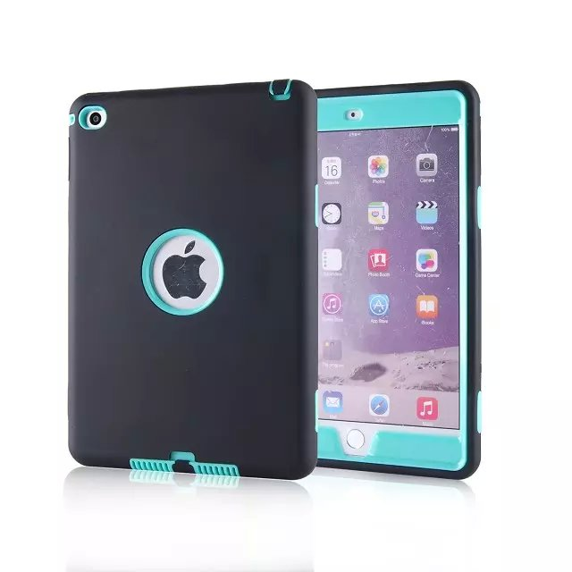 Shockproof Case Coque for iPad Mini 4 Hybrid 3 in 1 Armor PC Rugged Skin Cover for iPad Mini4 Protective Case Fundas 12 Colors for ipad mini ipad mini 1 2 ipad mini 3 case silicone heavy duty shockproof hybrid rubber rugged hard protective skin cover case