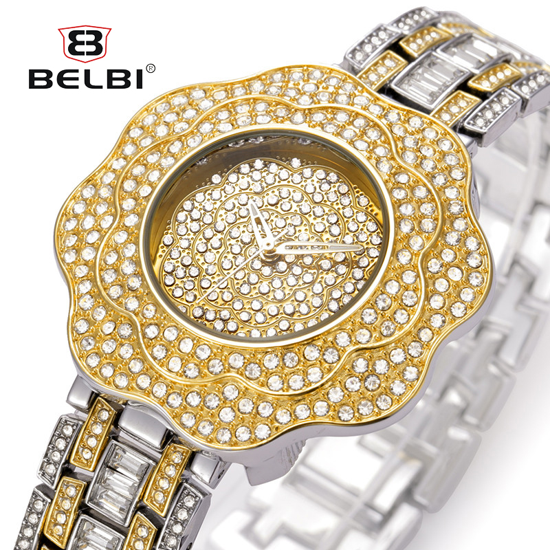 BELBI Top Brand Women Bracelet Watches Ladies Flower Dial Rhinestone Quartz Wrist Watch Luxury Fashion Quartz Watch duoya fashion luxury women gold watches casual bracelet wristwatch fabric rhinestone strap quartz ladies wrist watch clock