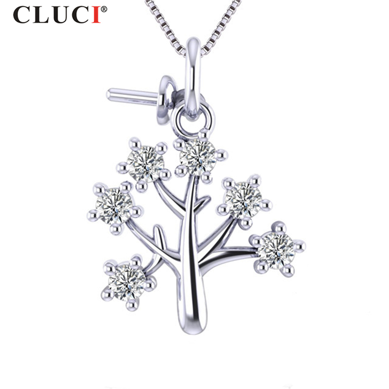 CLUCI Real Silver 925 Christmas Tree Charms Pendant For Women Necklace Sterling Silver Zircon Pendant Christmas Gift Jewelry