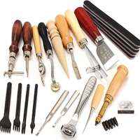 18Pcs Leather Craft Punch Tools Kit Hand Sewing Tool Stitching Punch Carving Work Saddle Groover Leathercraft Set Freeshipping