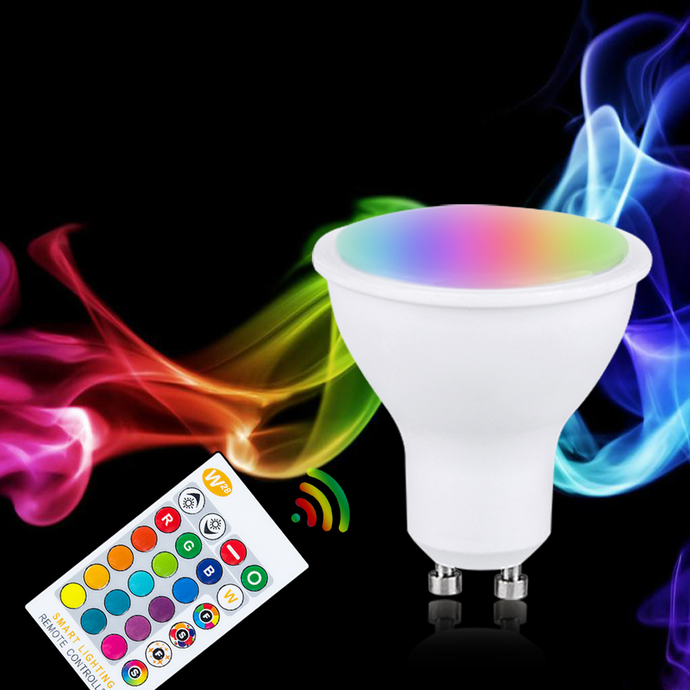 Image 2 - RGB LED הנורה אור E27 GU10 5 w 10 w 15 w Dimmable מנורת ססגוניות משתנה + IR שלט רחוק RGB Lampada מקורה תאורת מנורהנורות וצינורות LED   -
