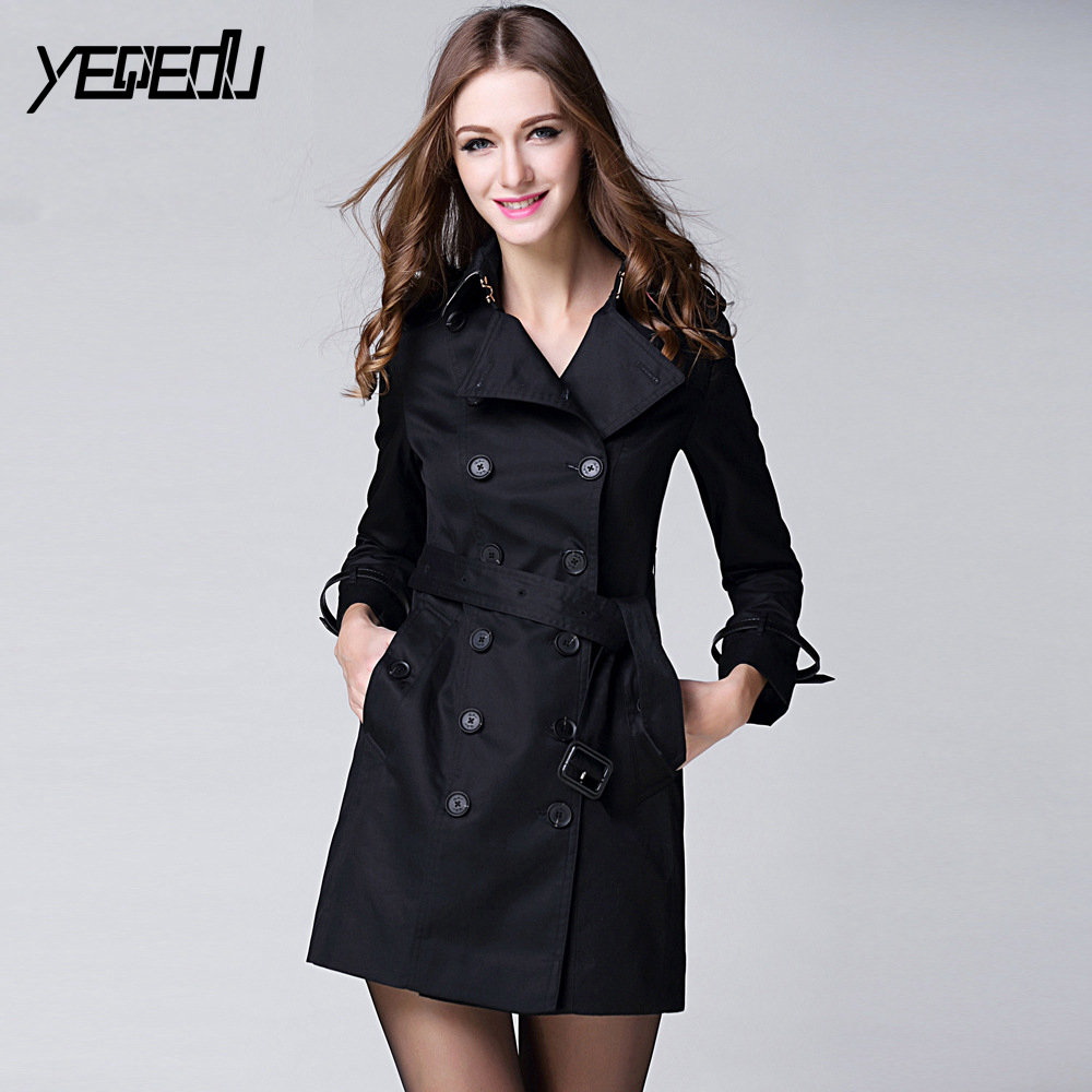#3302 Khaki/Black Runway Elegant   Trench   Coat For Women Double Breasted Slim Adjustable Waist Lapel Collar Fashion Windbreker
