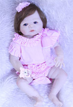 Cheio de silicone bonecas reborn menina bebê 22 polegada lifelike falso bebê princesa BJDdoll bonecas bebe com corpo de silicone menina bonecas