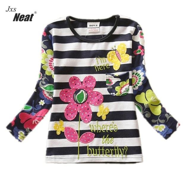 Girl clothes NEAT o-neck cotton children clothes cartoon animal pattern stripes cute girl t-shirt girl long sleeve t-shirt L326