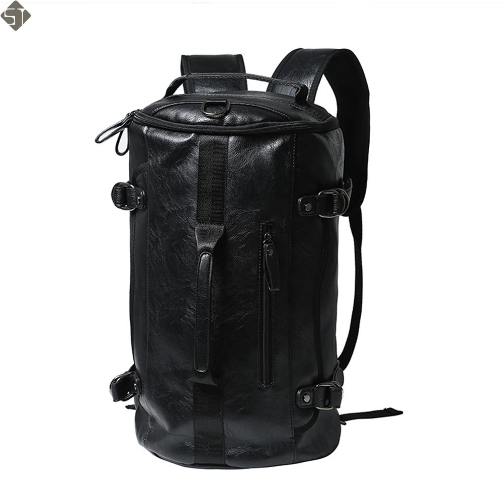 New High Capacity Men Travel Bag New Arrival Cylinder package Multifunction Rusksack Male Fashion Leather Backpack high capacity travel backpack bag for teenagers women waterproof backpack folding chair men bag multifunction rusksack male bag