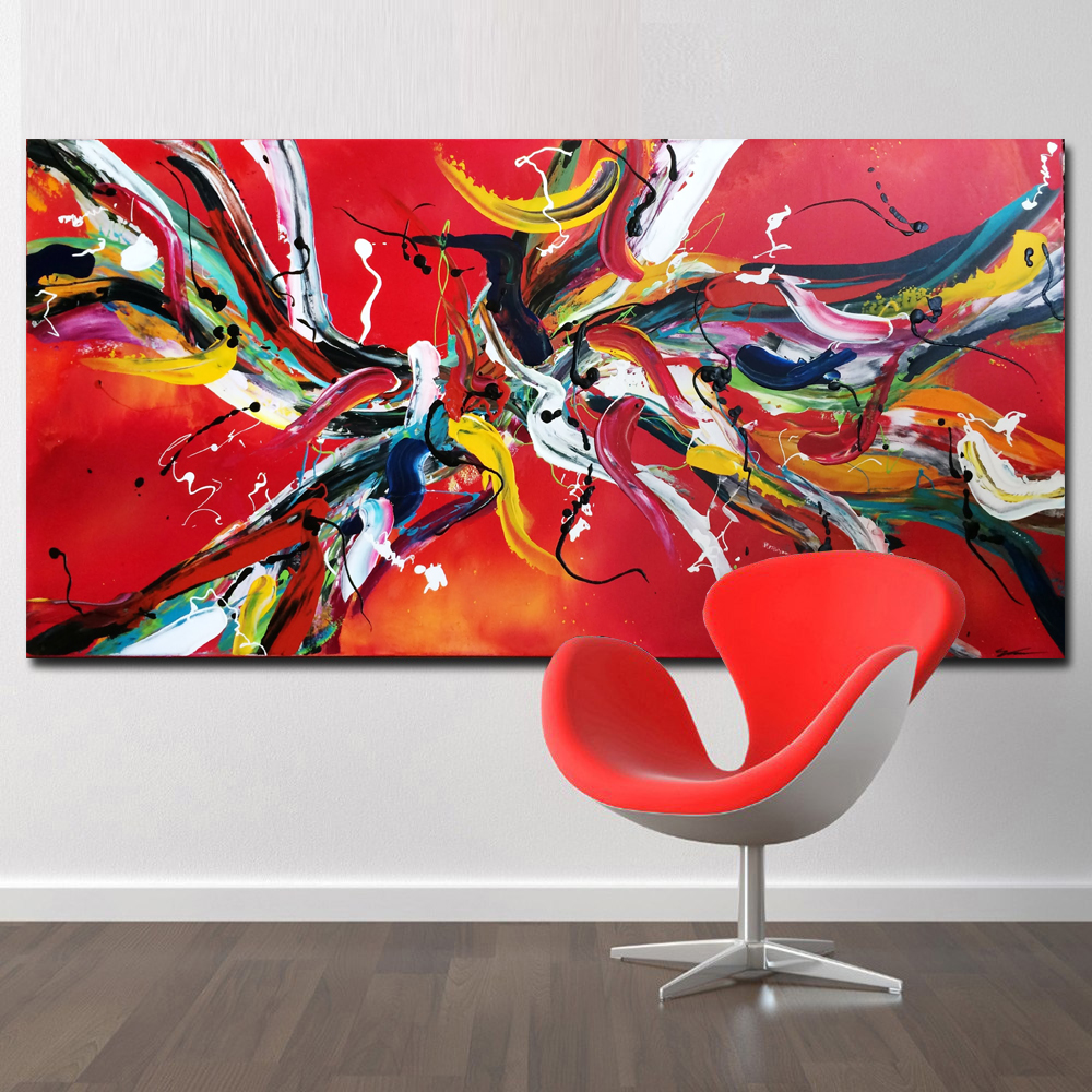 Selflessly Red Line Abstract Art Pop Art Hd Print Abstract Oil