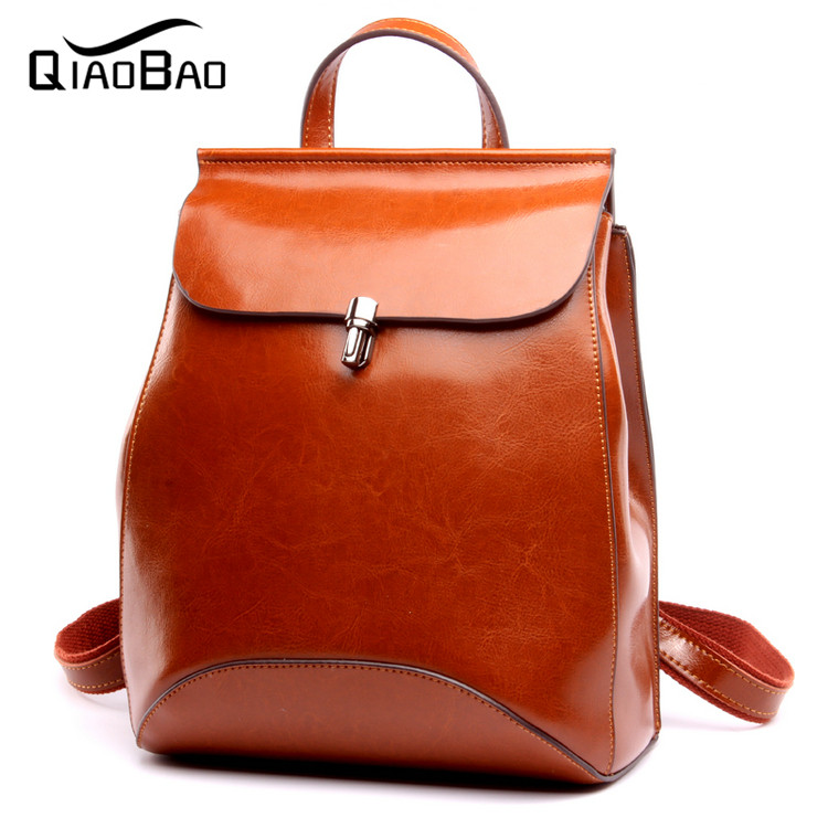ФОТО QIAO BAO 100% Cowhide leather Woman Backpack High Quality Brand Vintage backpack Women Softback School Bags For Teenagers