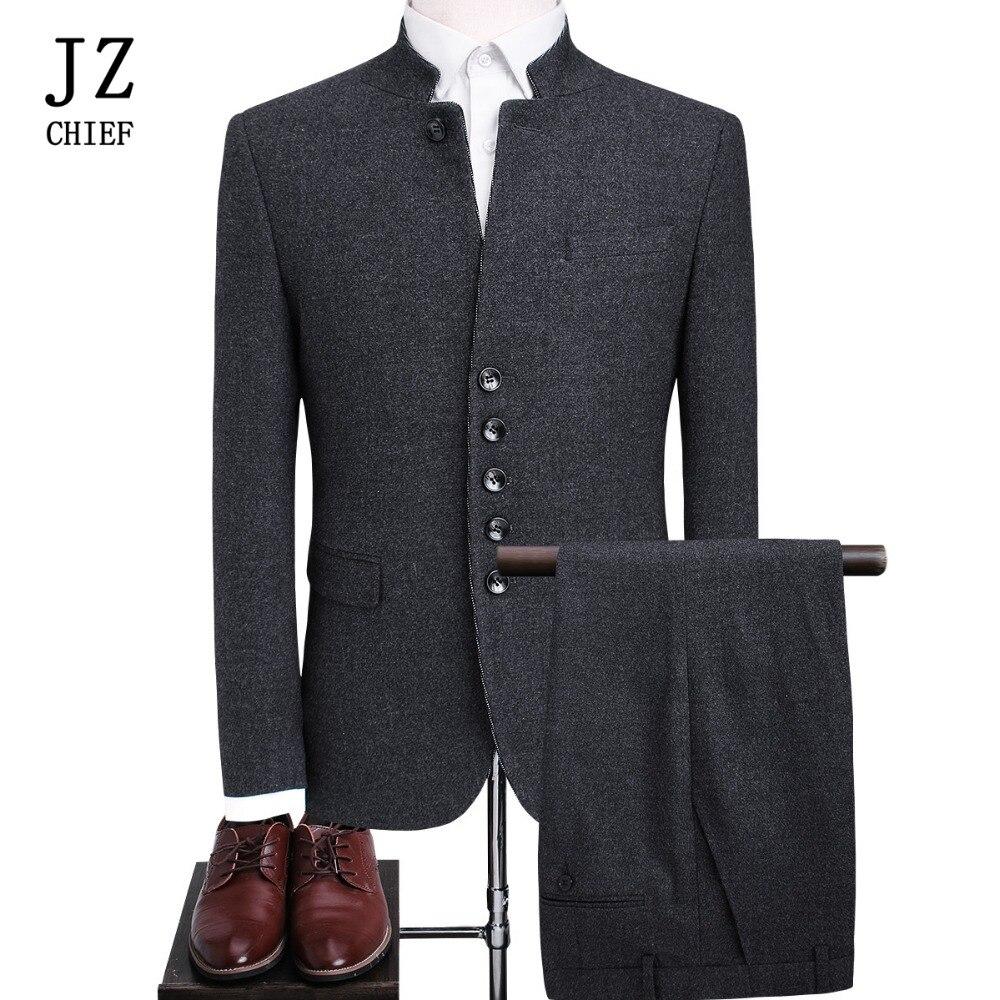 JZ главный костюм из 2 предметов деловой Блейзер Для мужчин Платья для вечеринок Китайский Свадебный костюм воротник стойка шерстяное пальт