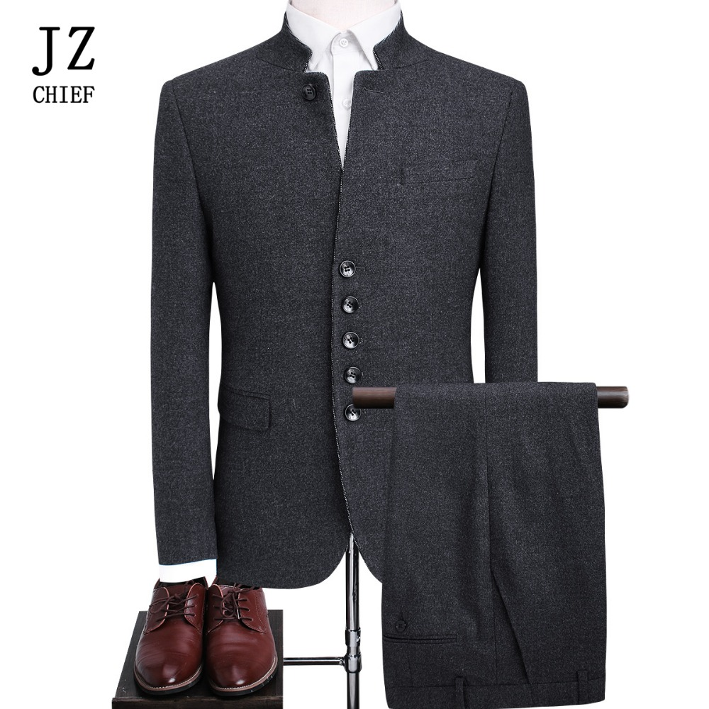JZ CHIEF 2 Piece Suit Formal Blazer Men Party Dresses Chinese Wedding Costume Mandarin Collar Woolen jacket Coat Pant Style Suit