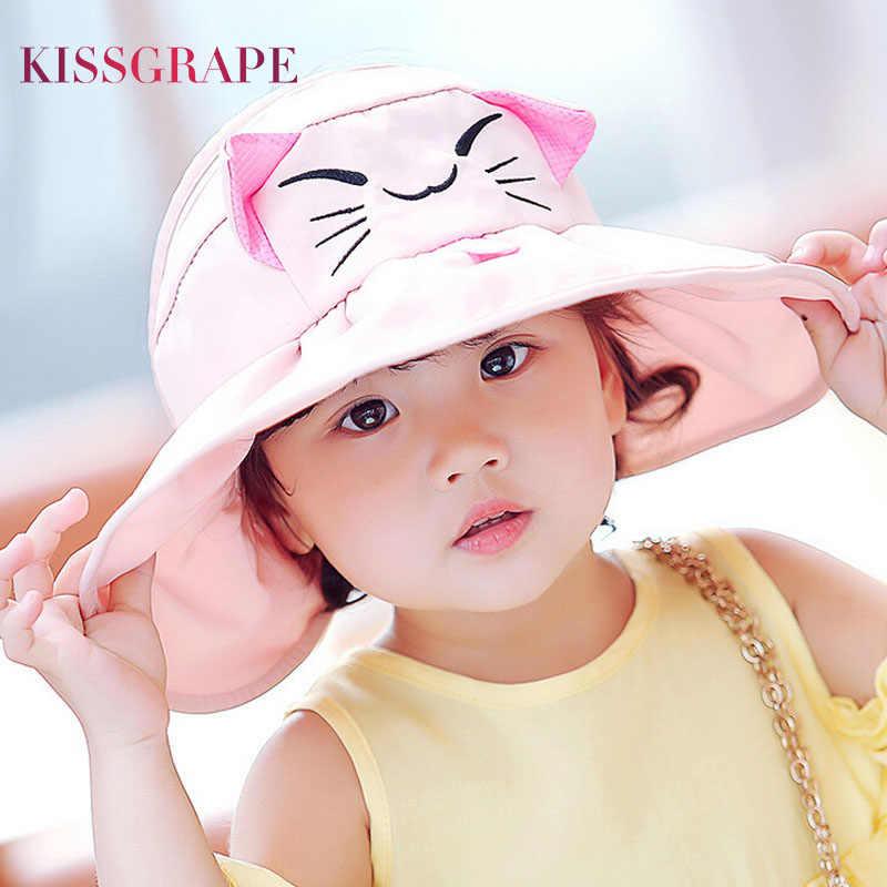 2017 Summer Kids Girls Sun Hats Anti-UV Sunscreen Caps children s Beach Caps  Big Birm c560b486ac0d