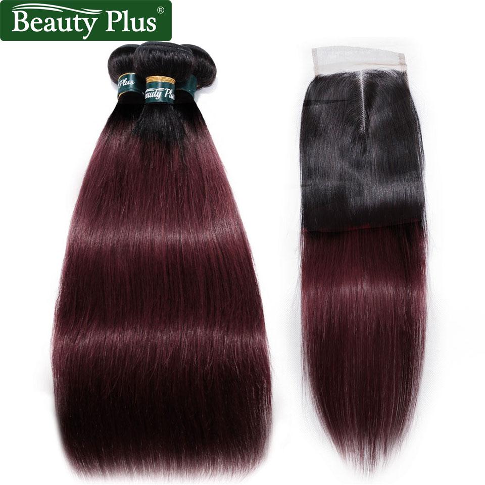 יין אדום T1b / 99J אומבר שיער אדם חבילות - יופי אספקה
