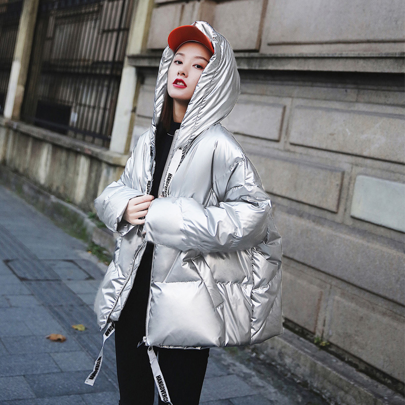 Oversized Silver Winter Jacket Women Cotton-Padded   Parka   Women Clothes 2019 New Arrival Thicken Warm Hooded Coat Female   Parkas
