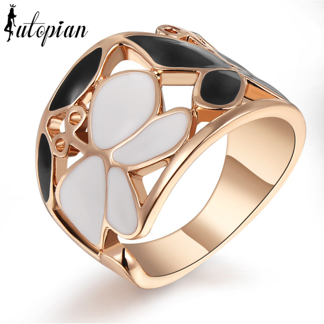 Iutopian Brand Elegant Butterfly Rings For Women Large Size Top Quality Rose Gold Plated #RG95371