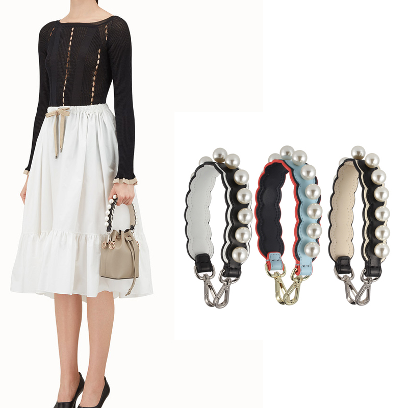 AUTEUIL Pearls Mini Shoulder Strap Women Bag Accessories Spring Summer Shoulder Bag Strap Split Leather Strap You Long Strap