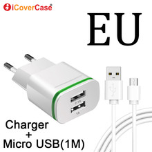 цена на EU 2 Plug Dual Ports Charger For Xiaomi Redmi 5A 4A Note 4 4X 5 Pro Plus S2 Charger Phone Micro Usb Cable Power Charging Adapter