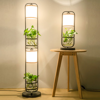 TUDA 20X52cm Chinese Style Glass Table Lamp For Sitting Room Light Flowers And Plants Vase Table Lamps bedroom Flower Pot Lamp