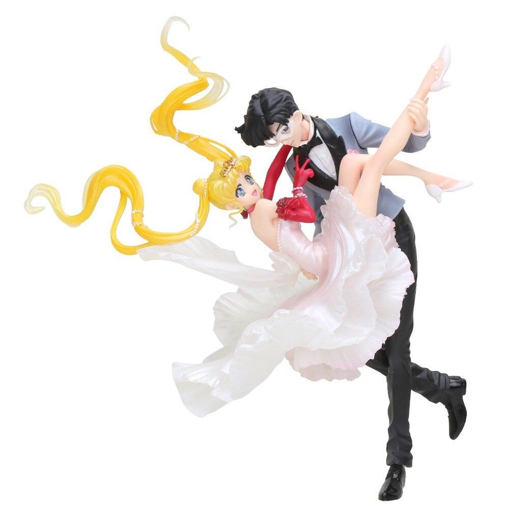 20cm Figuarts Zero Chouette Sailor Moon & Chiba Mamoru Masquerade Masked ball Wedding Dress Action Figure Model Toys недорго, оригинальная цена