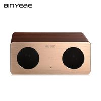 BINYEAE Wireless Portable Speaker Metal Shell Wood Audio Outdoor Blutooth HIFI Speaker with TF Card MP3 Player