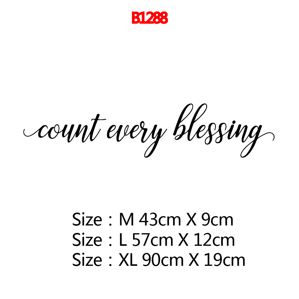 Removable count every blessing Text Self Adhesive Vinyl Waterproof Wall Art Decal For Bedroom Mural Wallpaper Vinyl Art Stickers in Wall Stickers from Home Garden