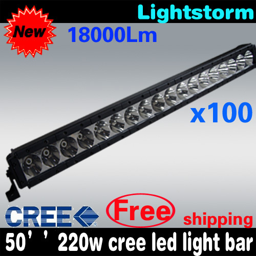 Free shipping 100pieces 50'' long 220w cree led light bar 10w/led Cree chip 4X4/offroad //tractor/UTV/ATV /Boat led light bar
