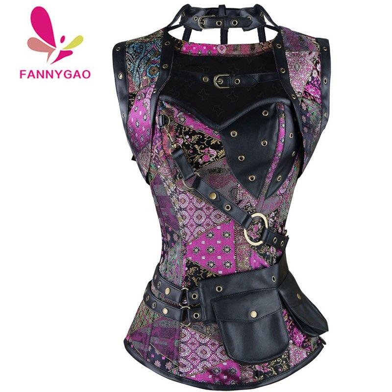 New Sexy Women Steampunk Corset Punk Purple Black Faux Leather Floral Steel Boned Bustiers Lace Up